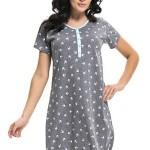 Dámská noční košile Quinn šedá/tyrkysová s druky