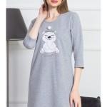 Dámská noční košile s tříčtvrtečním rukávem Méďa s čepicí