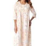 Dlouhá bavlněná noční košile s knoflíčky Lea lososová