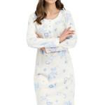 Dlouhá dámská noční košile Adéla modré květiny