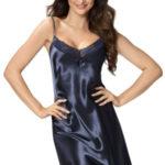 Luxusní saténová košilka Silvie tmavě modrá