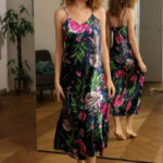 Dámská dlouhá saténová košilka Flowers HI 001 – DKaren