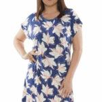 Noční košile Tori modrá s květinami