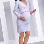 Bavlněná těhotenská a kojící noční košile Johanka šedá