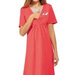 Bavlněná těhotenská a kojící noční košile Maja korálová