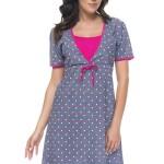 Bavlněná těhotenská a kojící noční košile Marilla s puntíky
