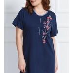 Dámská noční košile s krátkým rukávem Berušky a květy