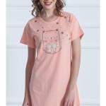 Dámská noční košile s krátkým rukávem Kočka s mašlí