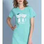 Dámská noční košile s krátkým rukávem Kočky na rande