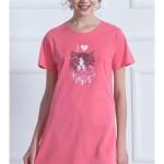 Dámská noční košile s krátkým rukávem Kotě s mašlí