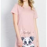 Dámská noční košile s krátkým rukávem Panda Smile
