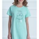 Dámská noční košile s krátkým rukávem Sova a hvězdy