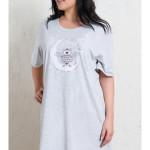 Dámská noční košile s krátkým rukávem Sova na měsíci