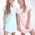 Dívčí noční košilka Liana lososová s obláčkem