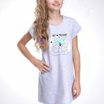 Dívčí noční košilka Liana šedá s medvídkem
