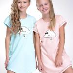 Dívčí noční košilka Liana tyrkysová s obláčkem