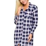 Košile na spaní Dalia tmavě modré káro