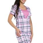 Mateřská noční košile Linda růžová  káro