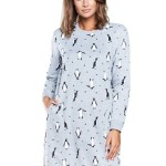 Noční košile Lulu šedá tučňák