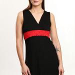 Noční košilka Violana Marina black-red – bez rukávů