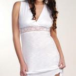 Noční košilka Violana Marina white – bez rukávů