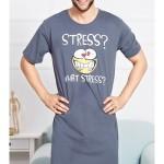 Pánská noční košile s krátkým rukávem Stress