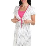 Těhotenská a kojící noční košile Astrid puntíky