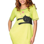 Zelená dámská noční košilka s kočkou